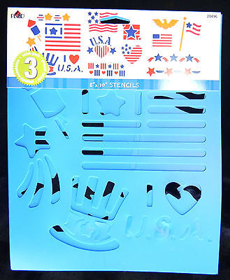3PK Plaid 28496 PATRIOTIC USA STENCILS Pre-Cut Reusable Stencil Flag Eagle Star+