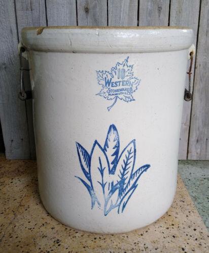 Antique Vintage Western Monmouth Stoneware Co 10 Gallon Leaf Crock, Bail Handles