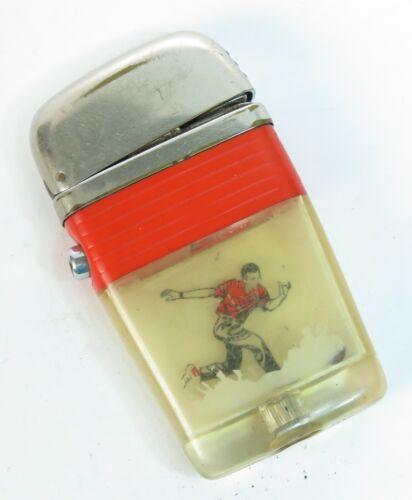 Retro 1960s Scripto See Through Vu Lighter Red Sports Soccer Player w/ Ball