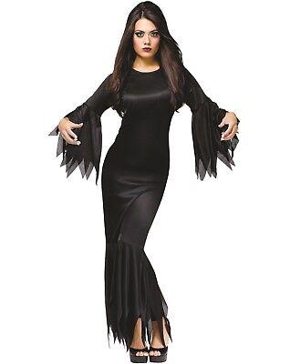 Halloween Kostüm Damen Frau Morticia Kostüm Horror Outfit Neu Ref 9935