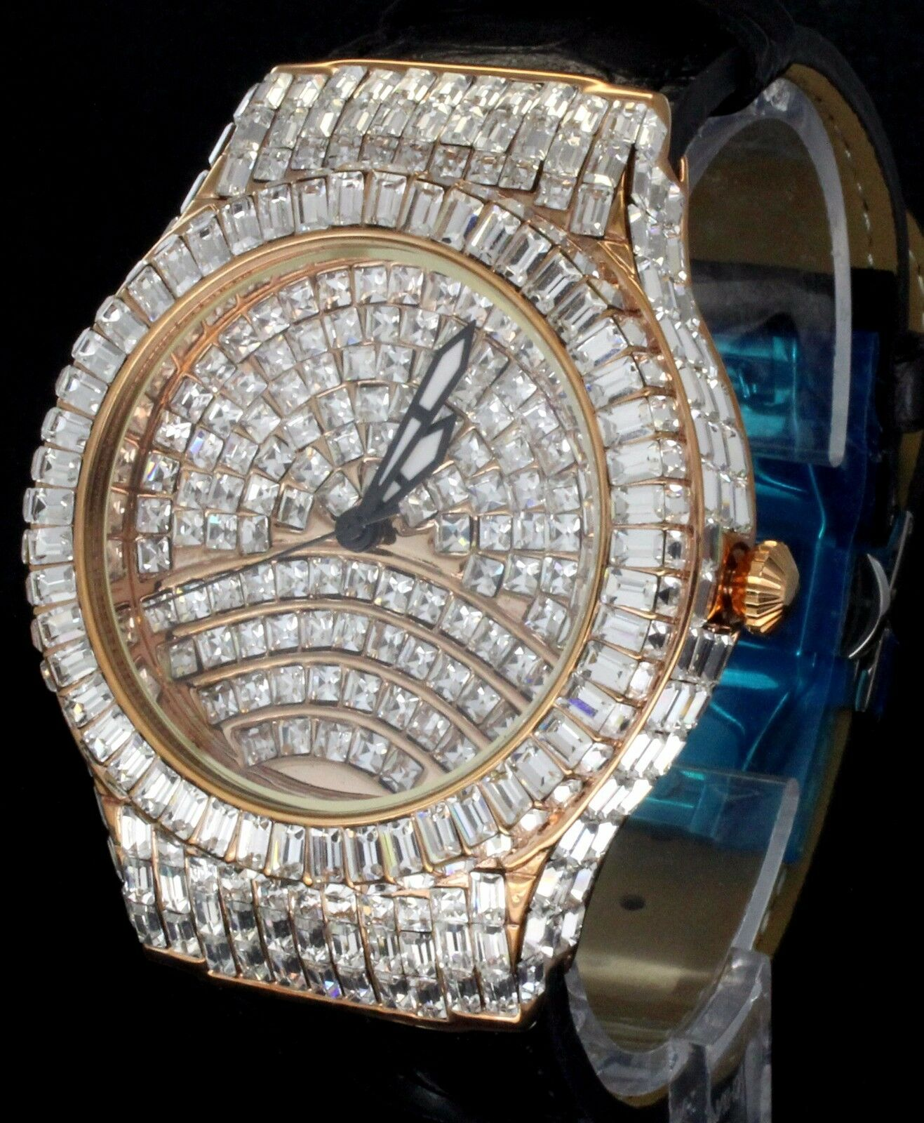 $99.99 - 43mm Swiss Movt Rose Gold Tone Simulated Diamond Leather Luxury Mens Wrist Watch