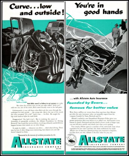 1952 Allstate insurance baseball car wreck crosswalk vintage art Print Ad adL35