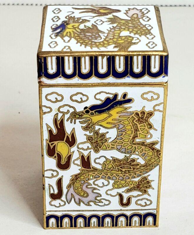 "Vintage Chinese Cloisonne Dragon Trinket Snuff Box Rectangular 2.25"""