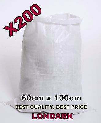 200 Woven POLYPROPYLENE Bags Sacks 60 x 100 PP Rubble Heavy Duty Bags Sandbags