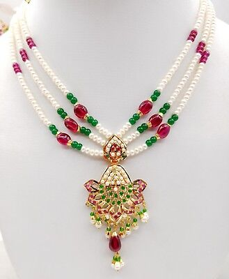 Punjabi gold jewelry 22k yellow gold real ruby emerald pearls necklace set india