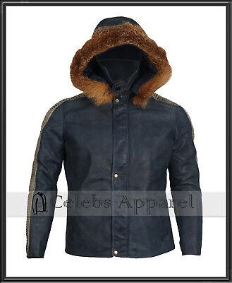 Star Wars Rogue One Diego Luna Mens Biker Hooded Fur Leather Jacket Costume