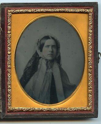 1/6 Plate Ambrotype Woman w/ Unusual Bonnet / Head Scarf Cover   w/  LS / NR