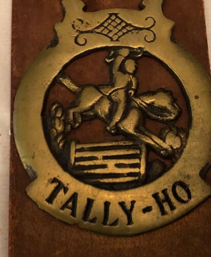 Vintage Antique 4 Brass Horse Harness Medallions Red Leather Strap Tack