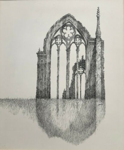 """""""Abbey Ruins""""I British Series Ink Drawing-1960s-/70s William Gorman- N.J. Listed"""