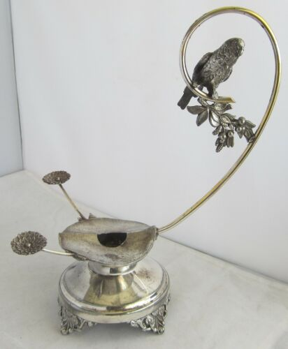FANCY VICTORIAN SILVER PLATE CANDLE HOLDER WITH PARROT, MARKED ON BOTTOM