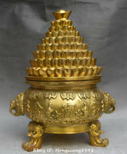China Bronze Treasure bowl basin lion Head Bat  Yuanbao Incense Burner Censer
