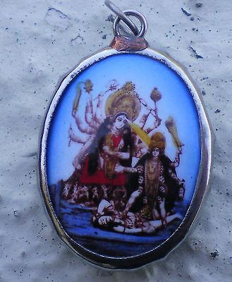 Hindu Deity Pendant Metal and Enamel KALI & DURGA w/ Blue Background