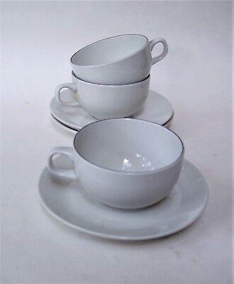 Vintage Royal Copenhagen Blue Line - 3 Flat Cup and Saucer sets #3042