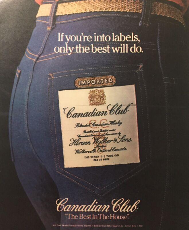 1982 Canadian Club Label Jeans Pocket Print Ad Good Condition Original