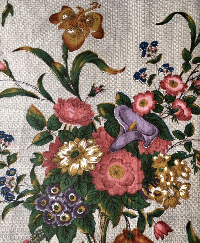 Vintage Floral Bouquet Interiors Cotton Fabric~19thc English Country House Style
