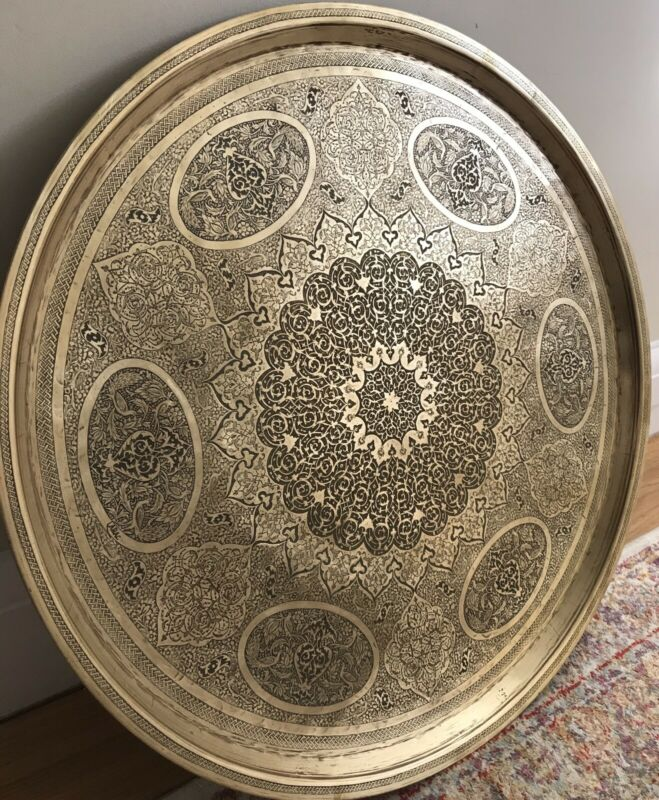 Antique Persian Middle Eastern Brass Tray