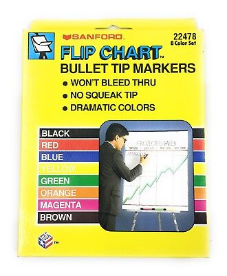 New In Box Sanford Flip Chart Bullet Tip Markers 8 Assorted Color Set 22478