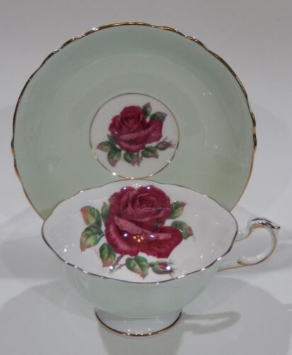 Rare Paragon FLOATING DARK RED ROSE CUP & SAUCER Signed R. JOHNSON c1938-52