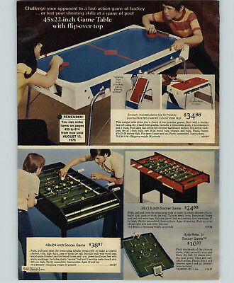 - 1976 PAPER AD Game Table Soccer Kyle Rote Jr Hockey Flip-Over Pool Kick Block