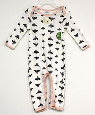 Burts Bees Baby One Piece Outfit Cream with bees all over pink trim New