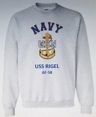 Uss Rigel  Af 58   Stores Ship   Navy Anchor Emblem Sweatshirt