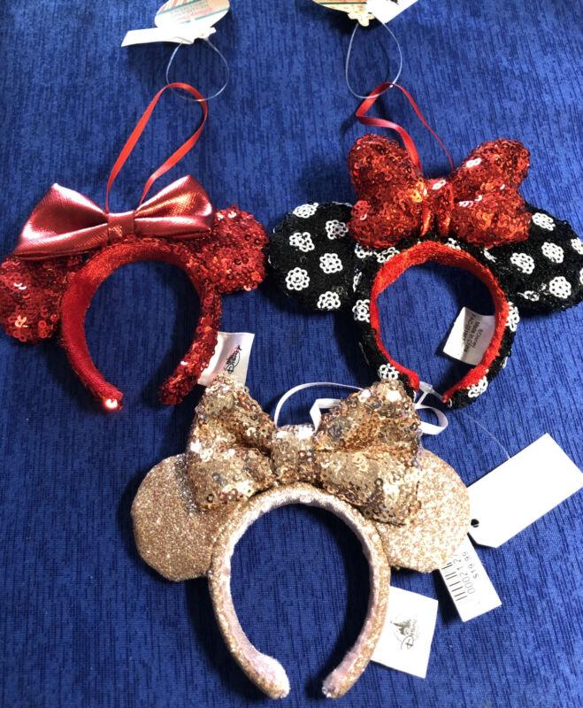 Disney Parks 3 Minnie Mouse Ear Headband Christmas Ornaments Red Rose Gold Polka