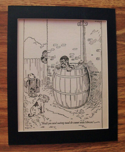 Print Blk Man Jeff Cook Bath Rail Barrel Bulldog Blk Americana 30s Bookplate Mat