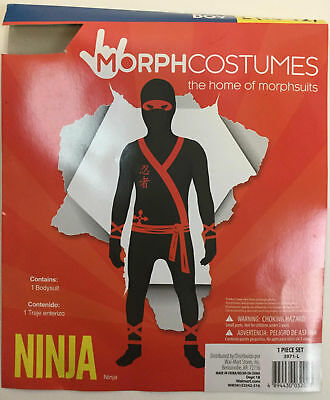 Morphcostumes Ninja Costume Boys Large 10-12 NWT Black Red Sash 1 Piece Set - Ninja Sash