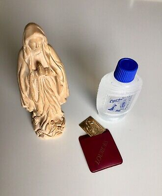 Lourdes Madonna Virgin Mary Religious Statue Figurine, Holy Water Bottle & Token