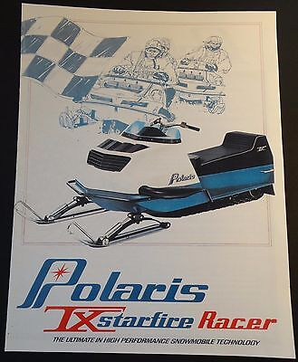 COOL 1972 POLARIS TX STARFIRE RACER SNOWMOBILE SALES BROCHURE 4 PAGES COPY (833)