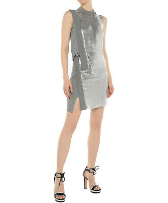 PACO RABANNE Silver Mesh Metal Chain Mail Top Skirt Set Dress 36 4 for sale  Shipping to India