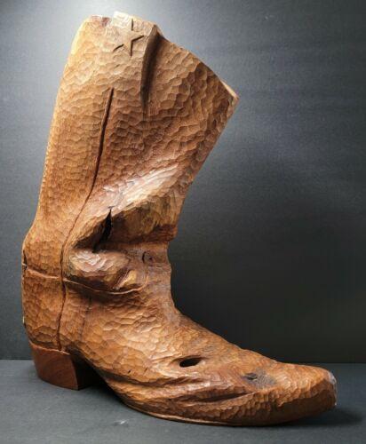 Hand Carved Wood Boot ☆ MESQUITE KICKER ☆ Texas Artist Charlie Boren (1927-2018)