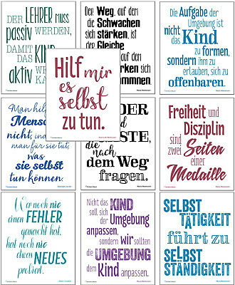 Montessori-Zitate, 10 Motivations-Poster zur Montessori-Pädagogik, je 40 x 50 cm