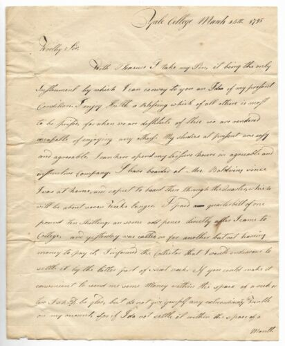 Antique 1795 YALE COLLEGE Manuscript EARLY AMERICAN STAMPLESS LETTER Handwritten