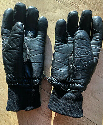 Ski Signature Leather Vintage Black  Zip Cuff  Ski Ski//winter glove Men/'s Sz Med