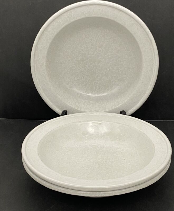 BENNINGTON POTTERY  THREE White Agate Soup Cereal Bowls David Gill