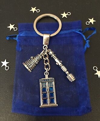DOCTOR WHO Small TARDIS SonIc Screwdriver DALEK Charms Quality KEYCHAIN KEYRING