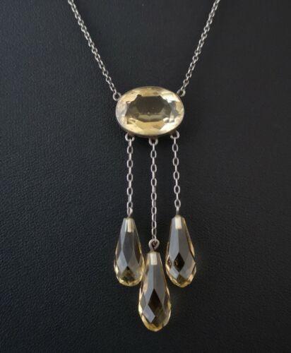 Antique citrine drop necklace, Art Nouveau pendant