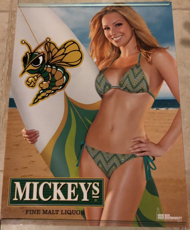 """MICKEYS BIG MOUTH ALE BEER BLONDE SURFER GIRL  POSTER HOT SEXY 18"""" X 24"""" BIKINI"""