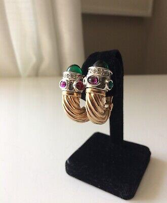 Inspired by David Yurman Vtg Gold-Tone Emerald Ruby Amethyst Shrimp Earrings