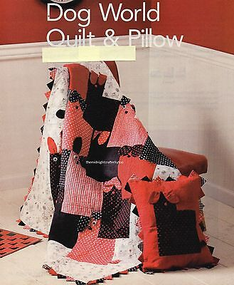 Dog World Quilt & Pillow Quilt Pattern Pieced PV