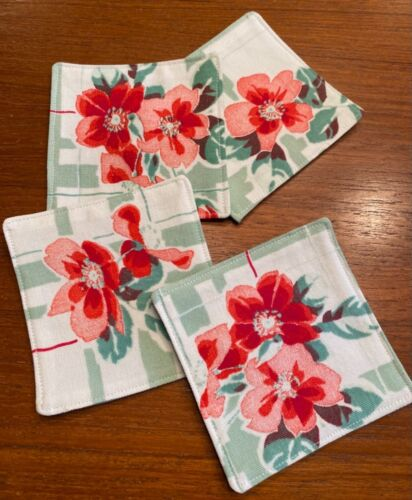 Vintage Wilendur Tablecloth Coasters -  Set of 4 - Red Flowers on Green & White