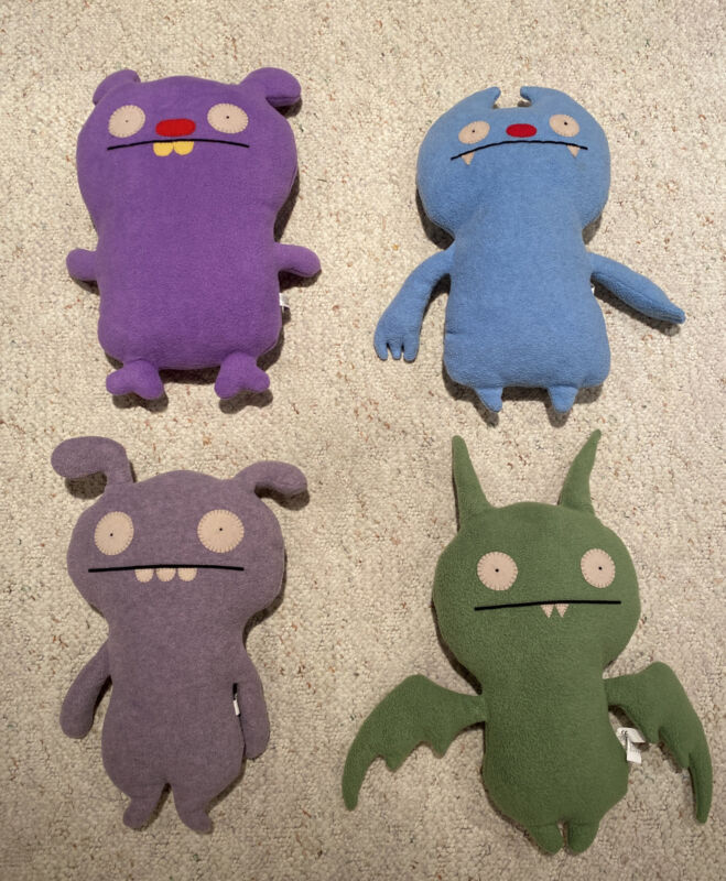 Uglydoll Plush Stuffed Animals Lot Of 4 Trunko Toodee Gato Deluxe Poe