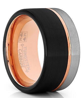 Tungsten Wedding Band Ring 12mm Men Black & Rose Goldtone Pipe Cut Cut Tungsten Wedding Ring