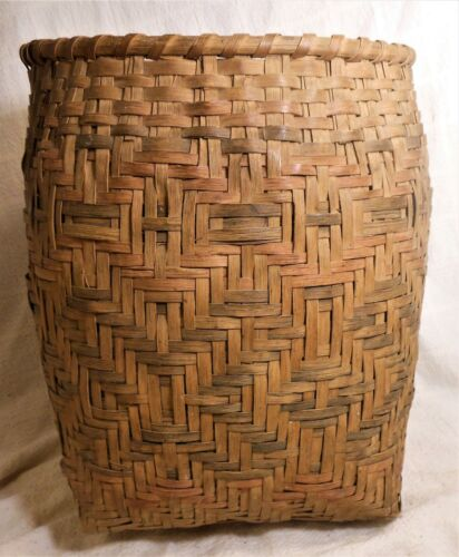 """Very Good Large Antique Native Am. Cherokee Basket, Faded Original Paint 12"""""""