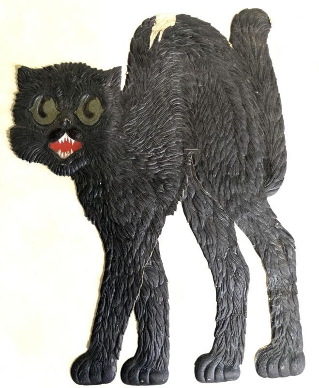 Vintage German Die Cut Embosed Black Cat Halloween Decoration