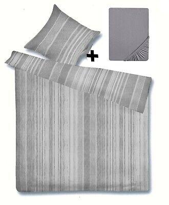 SatinBettwäsche135x200 80x80 und Spannbettlaken Jersey 100% Baumwolle hasey grau