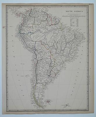 Original antique SDUK Map No.148 South America. Published 1842