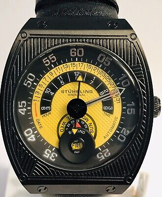 Stuhrling Automatic Yellow & Black Dial w/Day and Day Sub-dial Mens Watch - RARE
