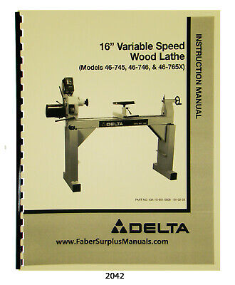 Delta 16 Varispeed Wood Lathe 46-745 Others Instrucition Parts Manual 2042